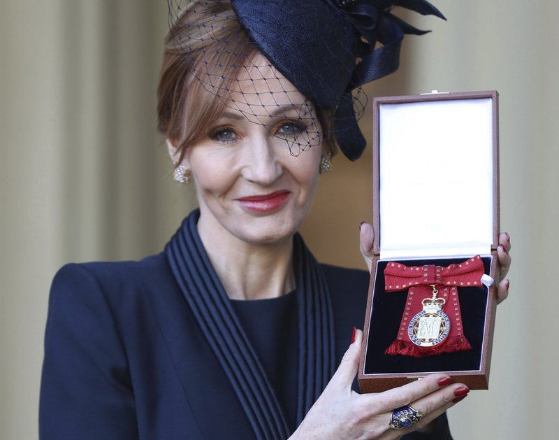JK Rowling says she's proud to receive royal honor