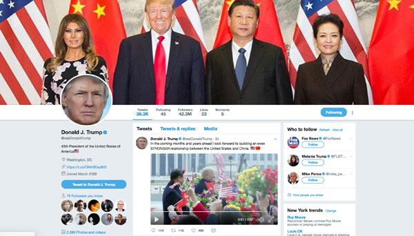 Trump tweets about building 'STRONGER' US-China relationship