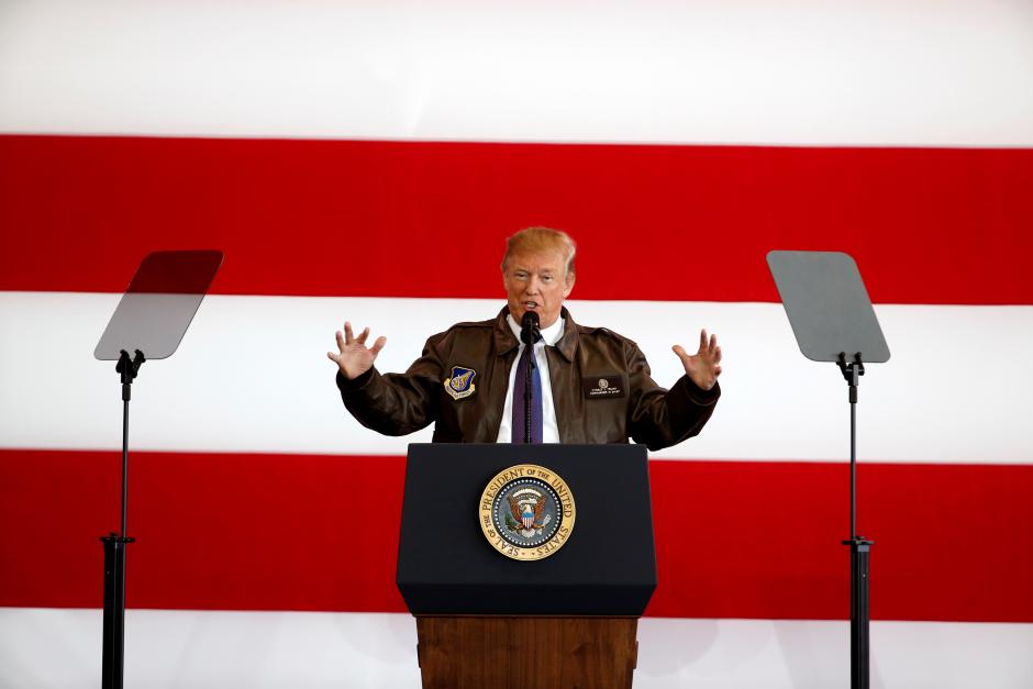 Image result for US President Donald Trump addresses members of US military services and Japan Self-Defense Forces at Yokota Air Base in Fussa, on November 5, 2017.