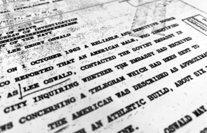"""Part of a file from the CIA, dated Oct. 10, 1963, details """"a reliable and sensitive source in Mexico"""" report of Lee Harvey Oswald's contact with the Soviet Union embassy in Mexico City, that was released for the first time on Friday, Nov. 3, 2017, by the National Archives. Documents show U.S. officials scrambling after the assassination of President John F. Kennedy to round up information about Lee Harvey Oswald's trip to Mexico City weeks earlier. (AP Photo/Jon Elswick)"""