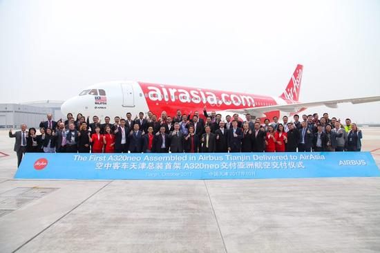 The first A320neo assembled in Airbus Tianjin delivered to AirAsia on October 25, 2017. (Photo provided by Airbus)