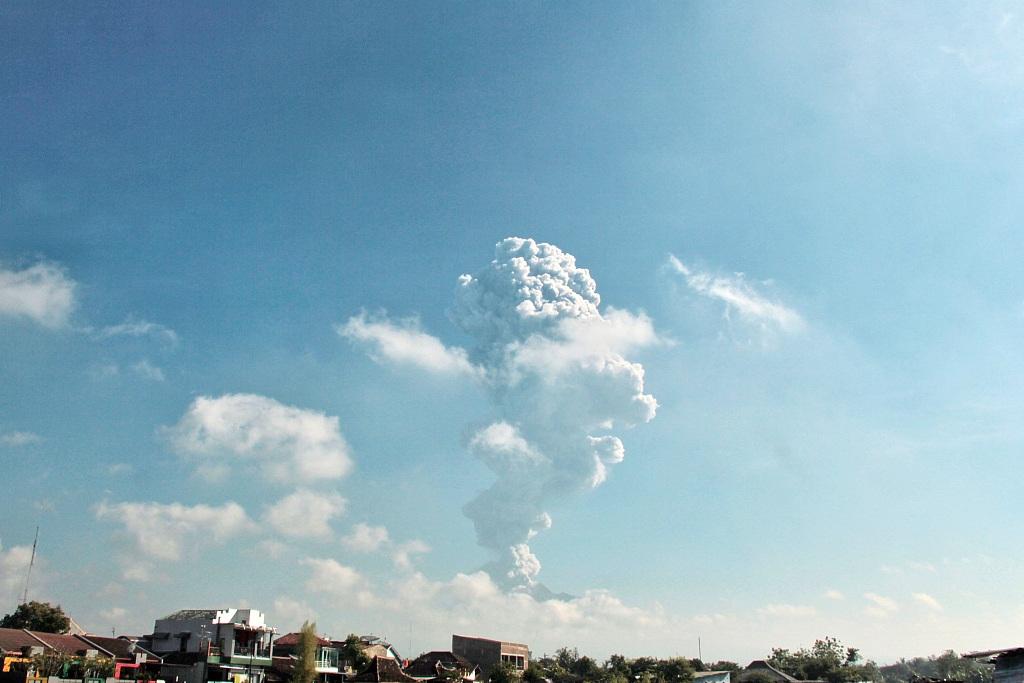 Mount Merapi volcano erupts from Purwobinangun Village