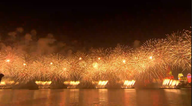 Artistic performance of lights and fireworks in SCO 2018 Summit