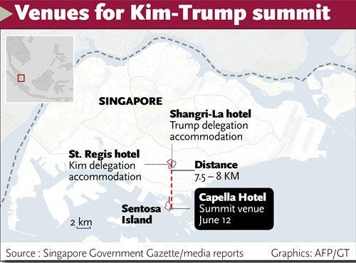 Kim, Trump arrive at Capella for summit