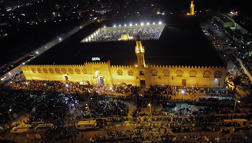 Muslims attend night prayer during Laylat Al-Qadr at mosque in Cairo, Egypt