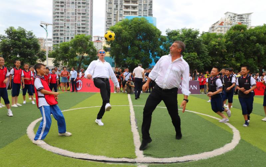 AC Milan helps promote soccer education among children in China