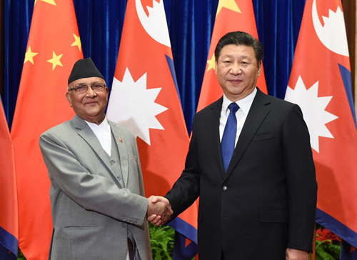 Chinese president meets Nepal's PM