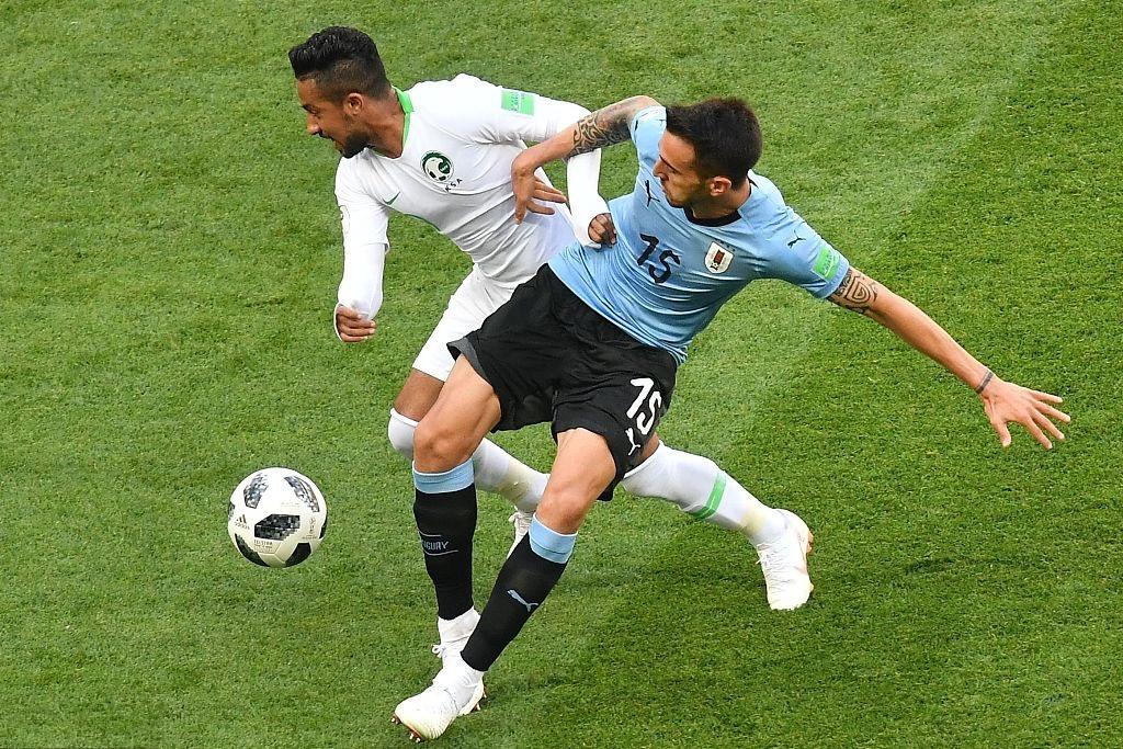 Suarez gives Uruguay lead over Saudi Arabia