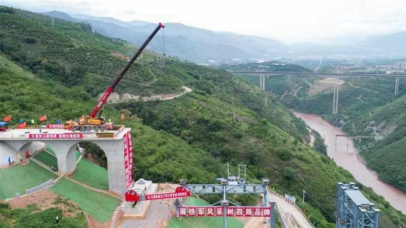 China's record-setting railway bridge starts girder set-up