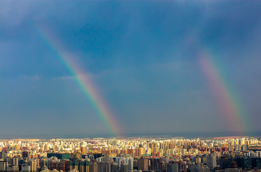 Rainbow appears after thunderstorms in Beijing