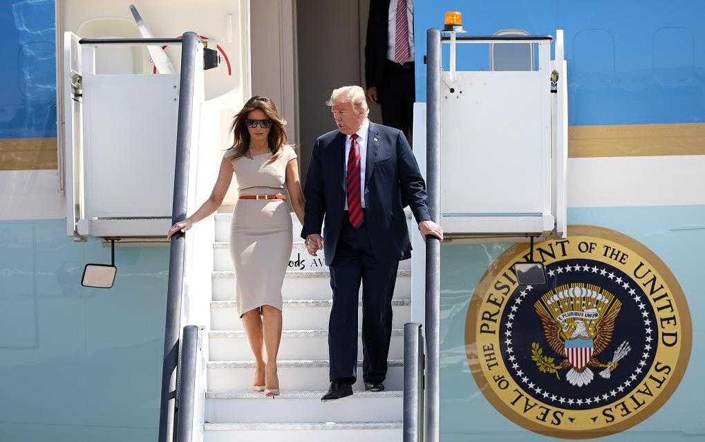 Trump lands in Great Britain for first UK visit
