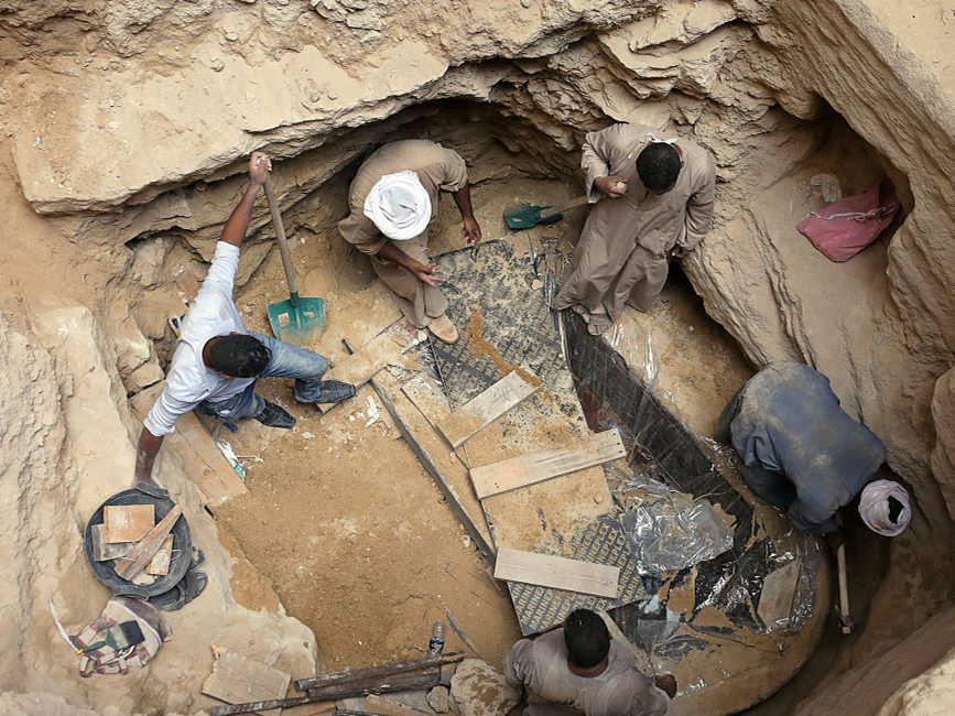 Egyptian archaeologists reveal contents of mysterious sarcophagus in Alexandria