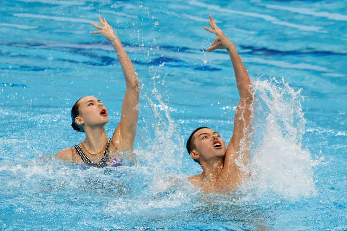 Chinese swimmers won mixed duet technical silver at FINA junior