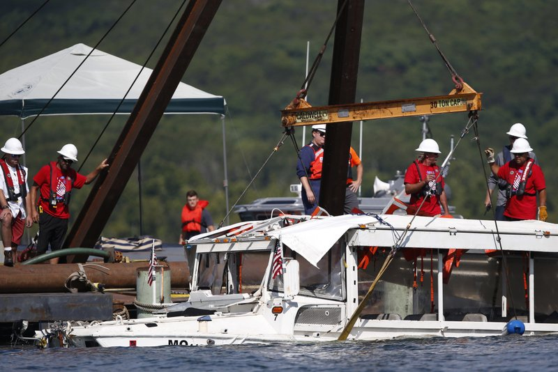 Duck boat that sank in deadly accident is raised from lake