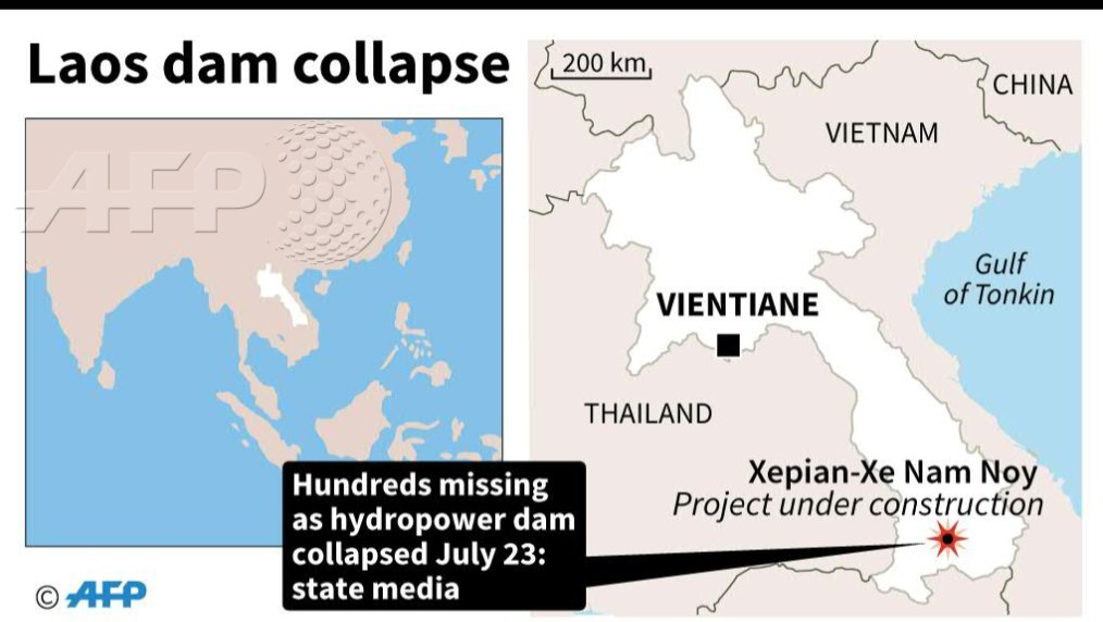 Hundreds missing in Laos after dam collapse: AFP
