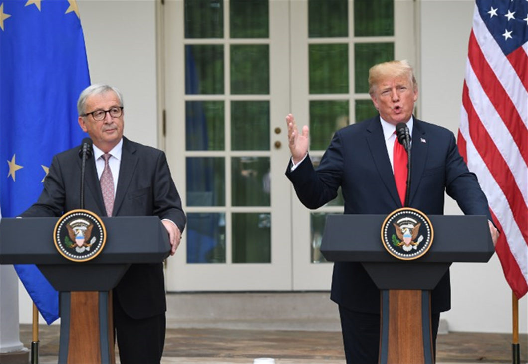 Trump, EU's Juncker agree to ease trade tensions