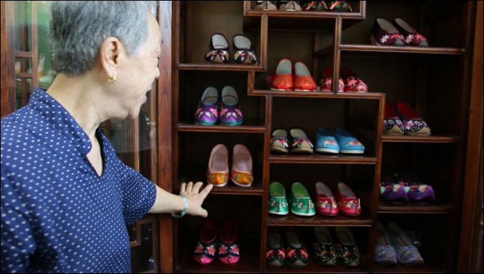 Meeting a master embroidered shoemaker in Beijing