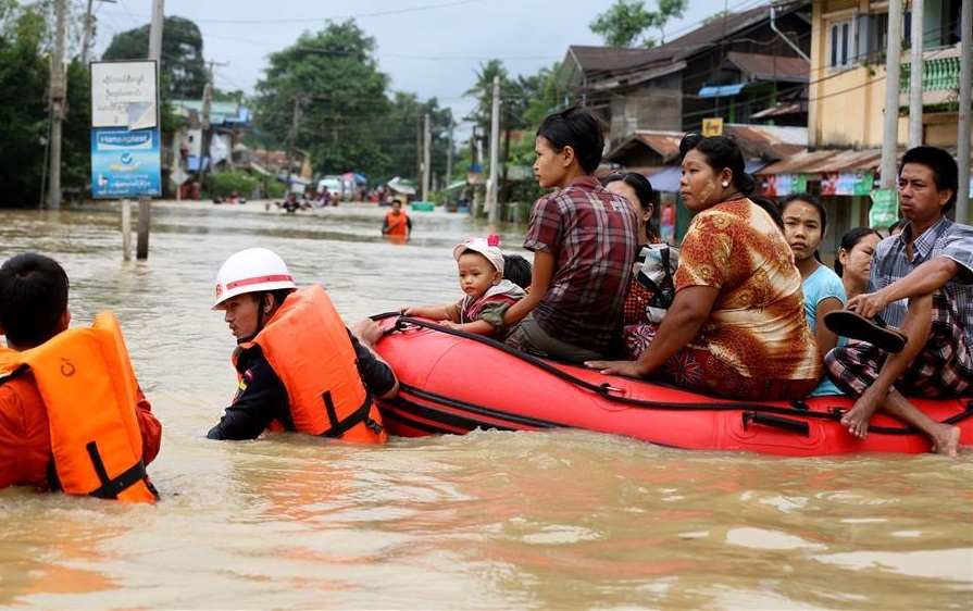 People affected by flood due to continuous heavy rainfall in Bago Region, Myanmar