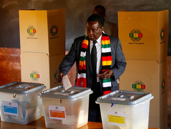 Zimbabwe's Mnangagwa casts vote as voting gets underway