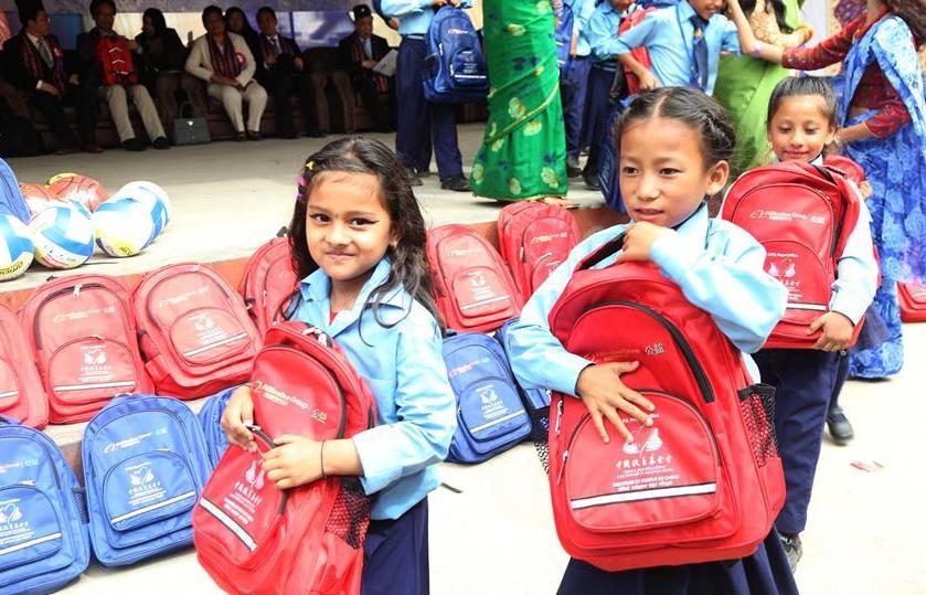 Chinese NGOs donate stationery, sports items to Nepali school