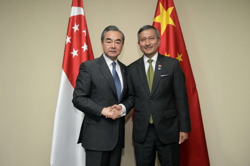 Chinese, Singaporean FMs agree to uphold multilateralism, free trade
