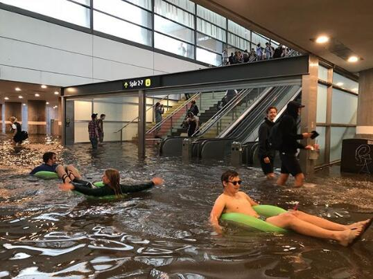 Flooded central station turned into a swimming pool in Sweden