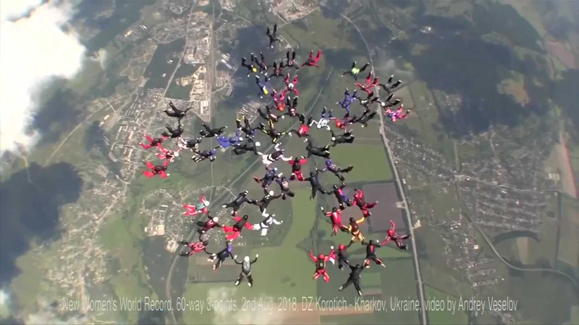 57 female skydivers made three formations above Ukraine