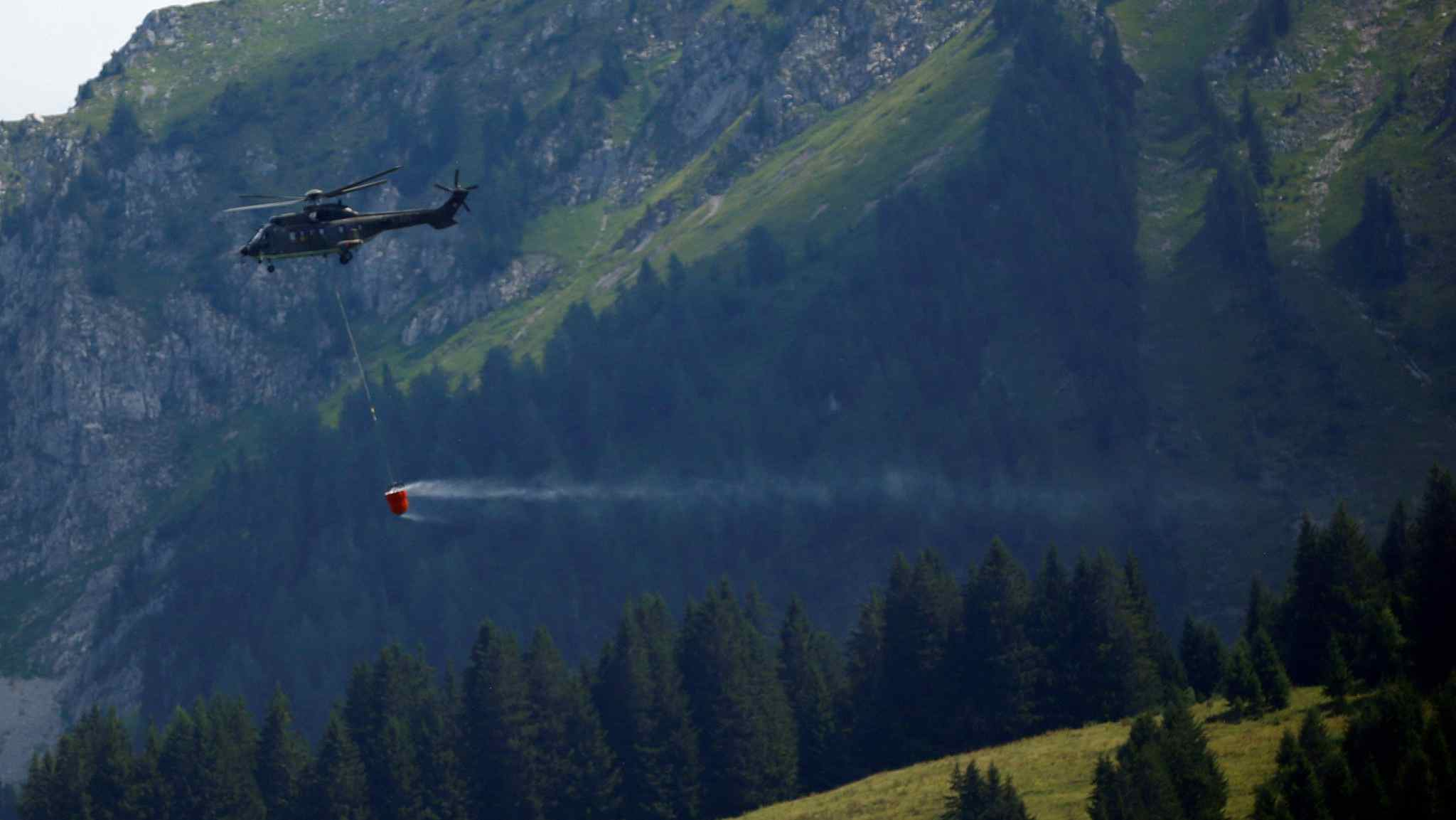 Swiss army helicopter airlifts water to thirsty cows in drought-hit areas