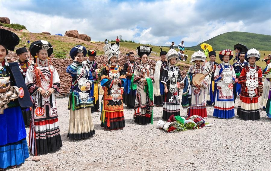 Beauty contest held during torch festival of Yi ethnic group in SW China's Sichuan