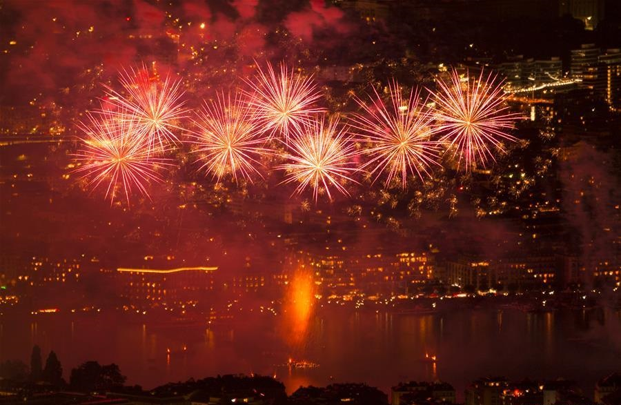 Fireworks illuminate sky during Geneva Festival in Switzerland