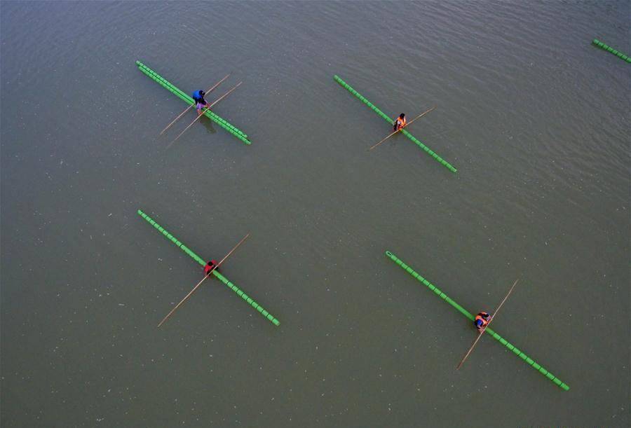 Single bamboo drifting practiced on water in SW China's Guizhou