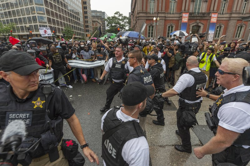 Counter-protest drowns out small Washington neo-Nazi rally