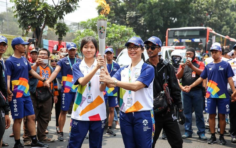 Torch Relay of 2018 Asian Games held in Jakarta, Indonesia