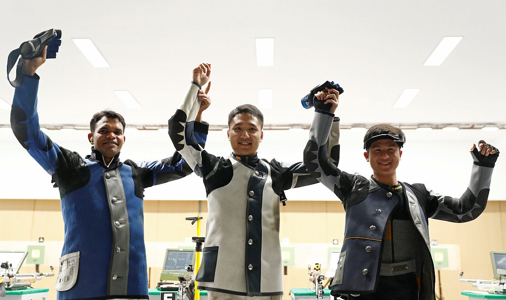 Shooter Yang Haoran of China wins Gold in Men's 10m Air Rifle event