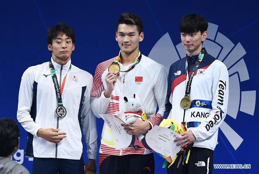 China's Xu Jiayu wins 50m backstroke in Asian Games