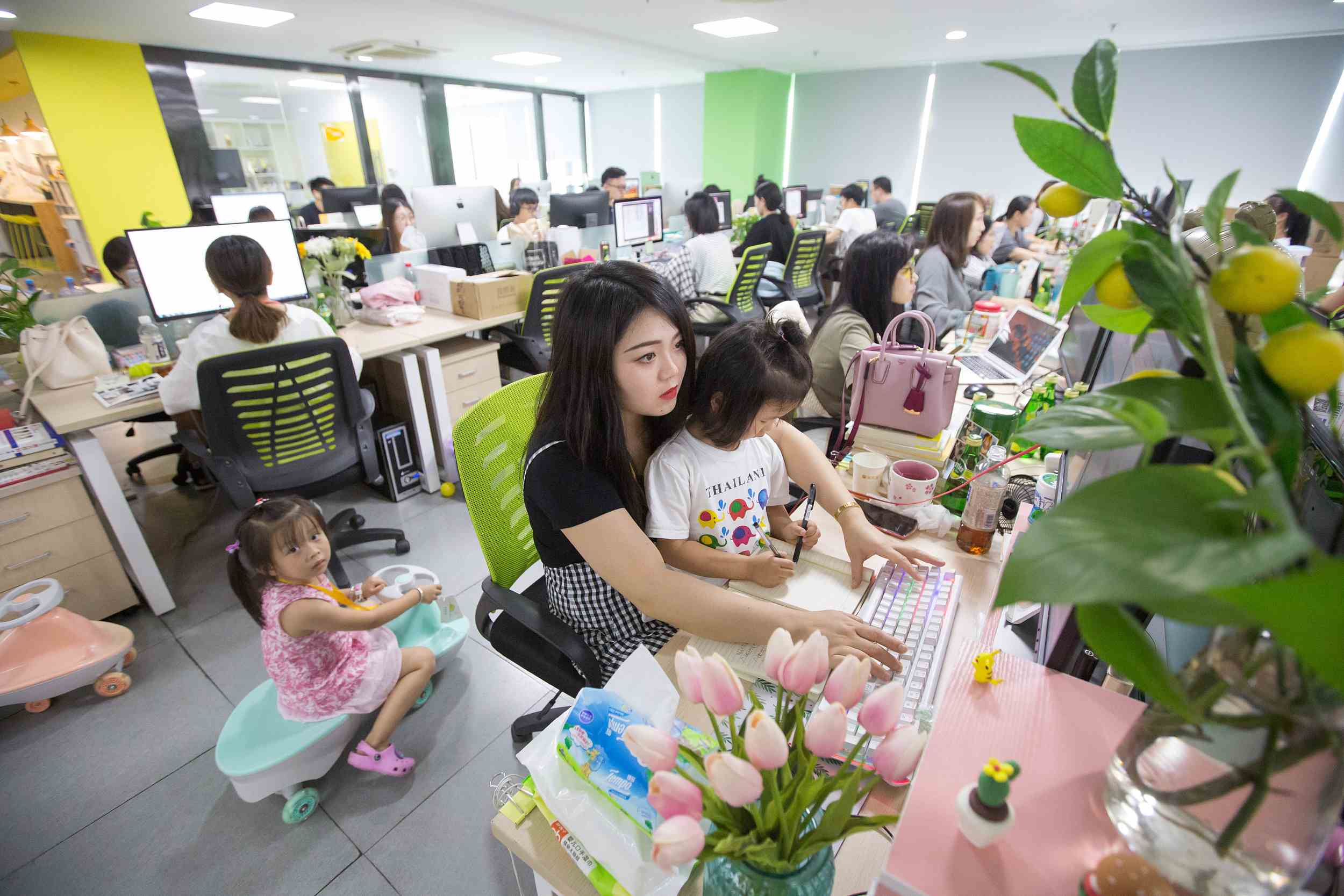 Chinese company allows female employees to bring their children to work