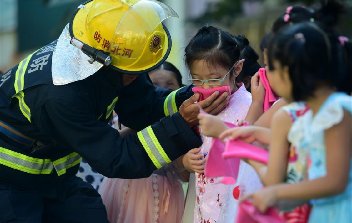 Children participate in drill of fire emergency in China's Hebei across China