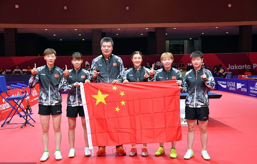 Chinese paddlers crowned 10th time in women's team at Asiad