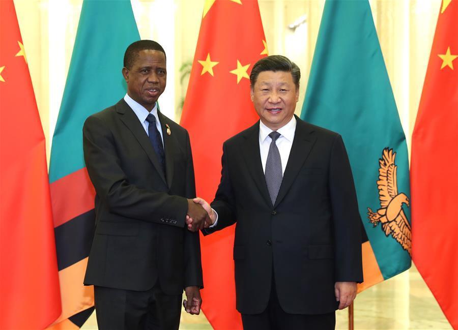 Xi meets Zambian president