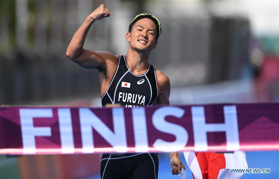 Furuya Jumpei of Japan wins Men's Triathlon contest at 18th Asian Games