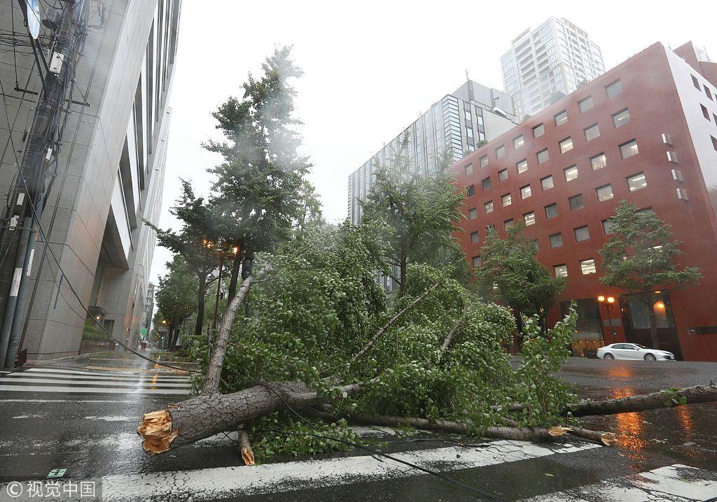Strong typhoon slams western Japan; 8 dead, airport flooded
