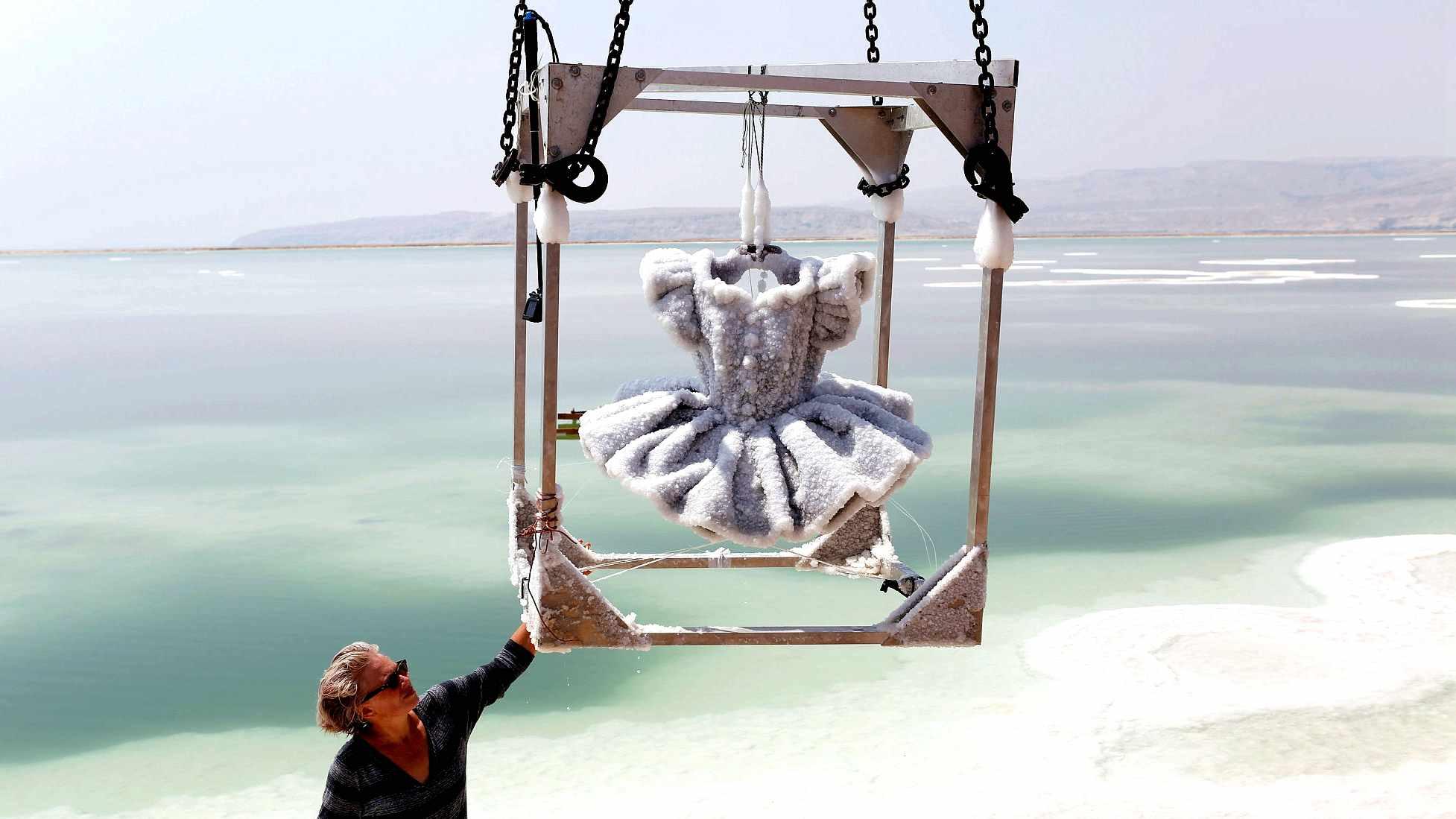 Frozen crystal beauty in the Dead Sea