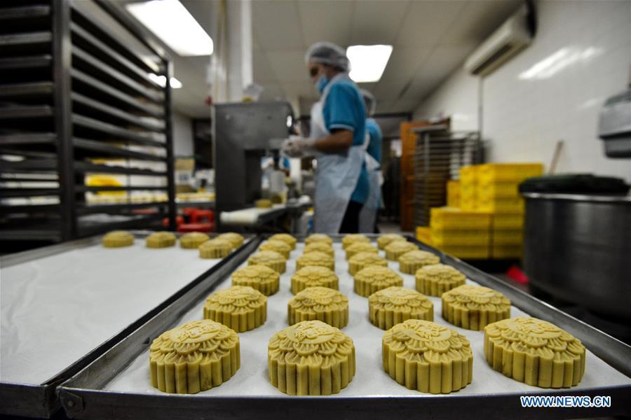 Bakery prepares mooncake for upcoming Mid-Autumn Festival in Kuala Lumpur