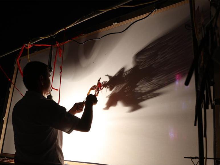 Exchange activity of shadow puppet held in China's Hebei