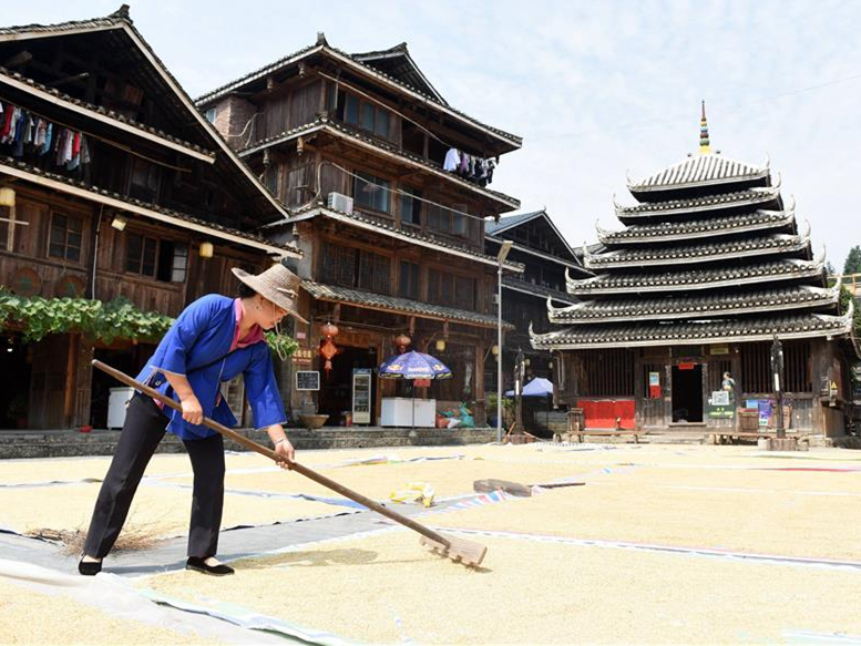 Villagers air grain in south China's Guangxi